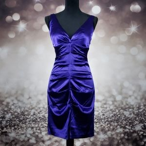 Onyx Nite Royal Purple Faux Silk Dress